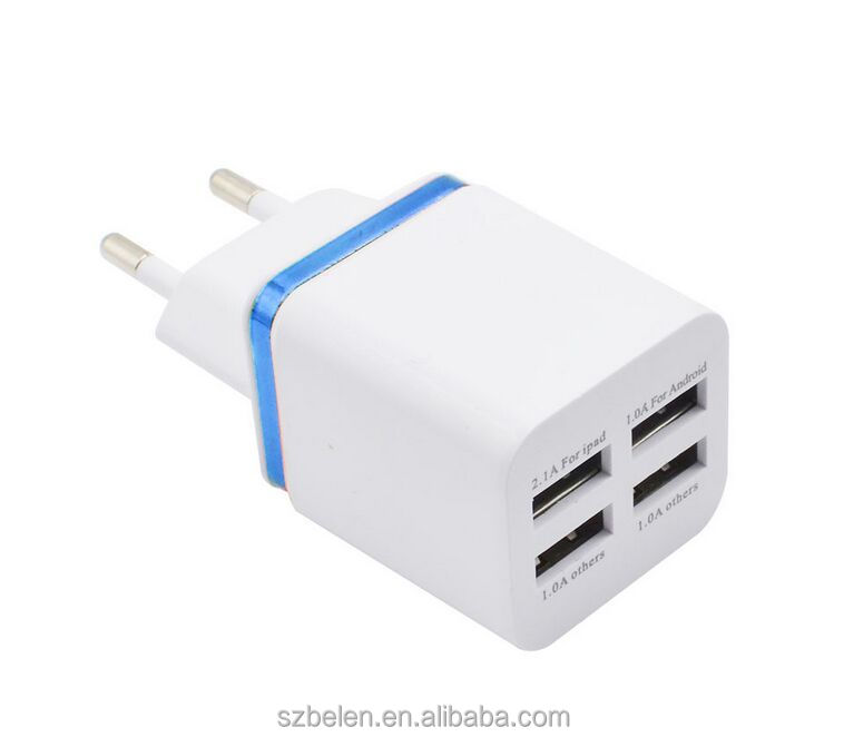 Print Logo 4 Usb Wall Charger Usb Home Charger Multi Port For Apple Wall Charger