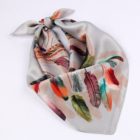 2019 fashionable China women square printed 100% silk scarf