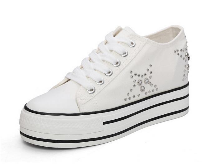 405195d0fde Get Quotations · 2015 new Fashion white Classic canvas shoes woman Platform shoes  casual women sneakers rivets women's flats