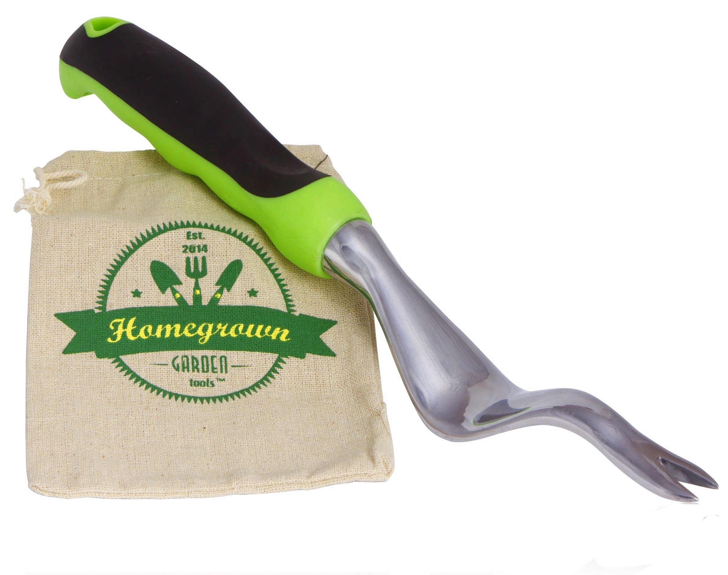 Hand Weeder from Homegrown Garden Tools; Manual Weed Remover with Large Ergonomic Handle; Best for Lawn & Garden Weeding, Includes Burlap Tote Sack - Makes Great Gift
