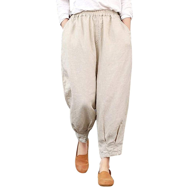 1166181a100e32 BCDshop Women Harem Pants Wide Leg Capris Loose Elastic High Waist Trousers  -Thin