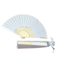 solid color single side printing bamboo silk fan wedding favor folding pocket fan