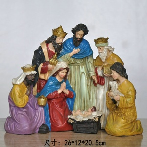 2018 NEW DESIGN EXQUISITE COLORFUL CHRISTIANITY JESUS BIRTH SCENE NATIVITY SET RESIN STATUES