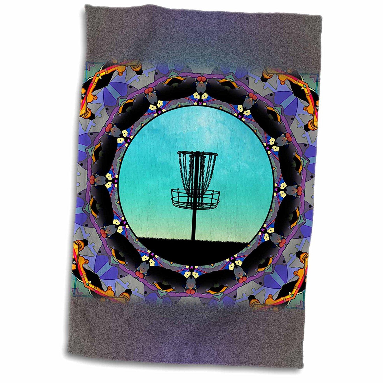 3dRose Phil Perkins - Disc Golf - Disc Golf Abstract Basket - colorful mandala disc golf graphic design - 12x18 Towel (twl_243470_1)