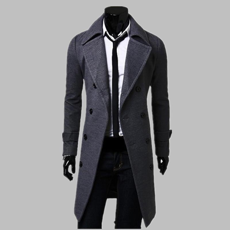 Fashion Men Trench Coat Men Gray Long Coat Winter Cool
