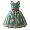 Latest design beautiful green vintage flower girl smocked christening dress
