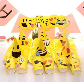 Birthday Party Favors Decorations Plates Cups Hats Photo Props Set Emoji Supplies