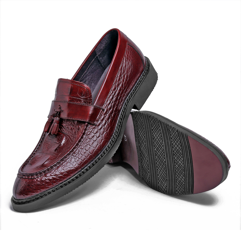 2015 New summer italian brand designer men casual shoes genuine patent leather tassel crocodile driving part for men ox438