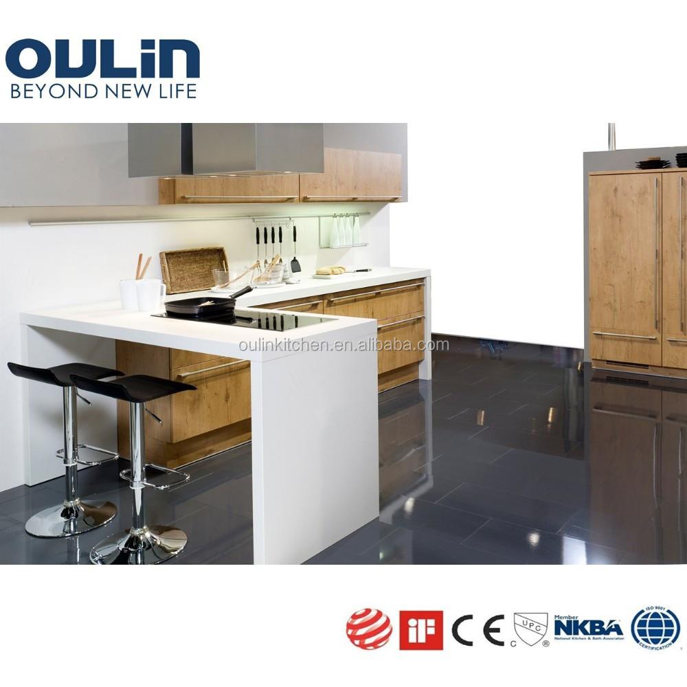 2015 Wood Veneer Kitchen Cabinets With Islands Benchtop