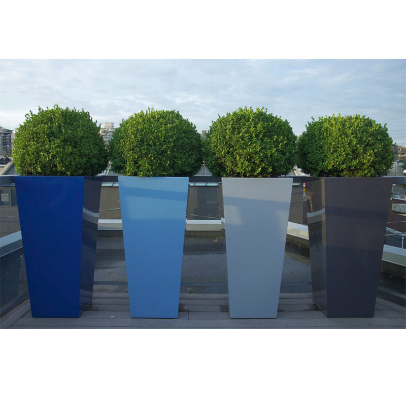 Factory wholesale light weight durable taper square fiberglass resin planter