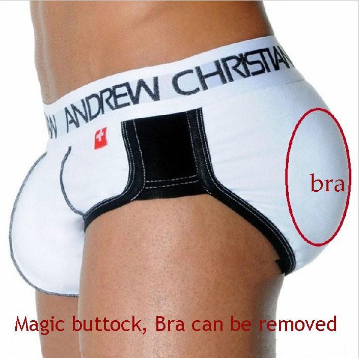 e10616d5df4b3 Andrew christian Man Magic Bottom Pad Hip Lifting Mens Calzoncillos Shorts  Pants Gay Men Underwear Brand Briefs Sexy BRA