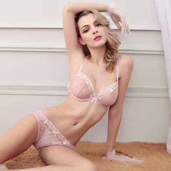 c88c24b8d B10742A sexy lady embroidery lace bra and panty sets woman transparent bras  set