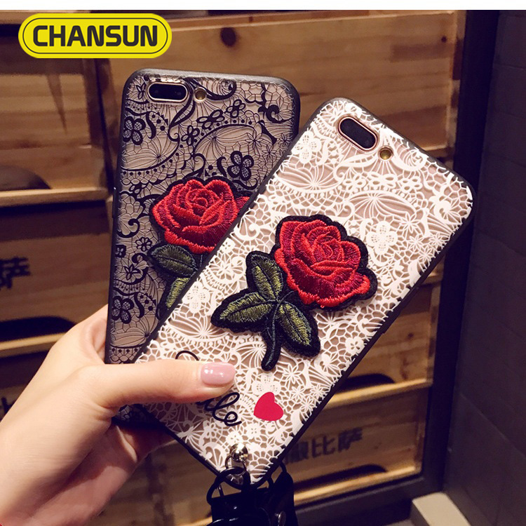 popular women phone case lace rose embroidery tpu pc case for iphone 7 plus