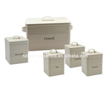 Set Of 5 Metal Storage Bin For Bread Bin Biscitus Coffee Tea Sugar