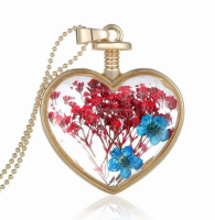 Golden Beads Chain Pressed Flower Heart Glass Pendant Necklace