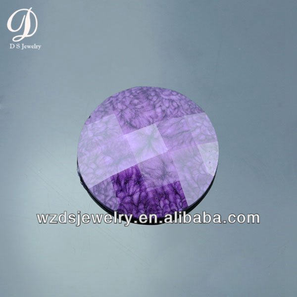 Wholesale Round #34 Purple Lab Synthetic Crack Resin Stone Gems Loose Gemstone Beads for Jewelry