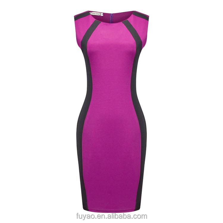 Europa 2017 nueva moda vestidos niña grande púrpura lápiz sexy ...