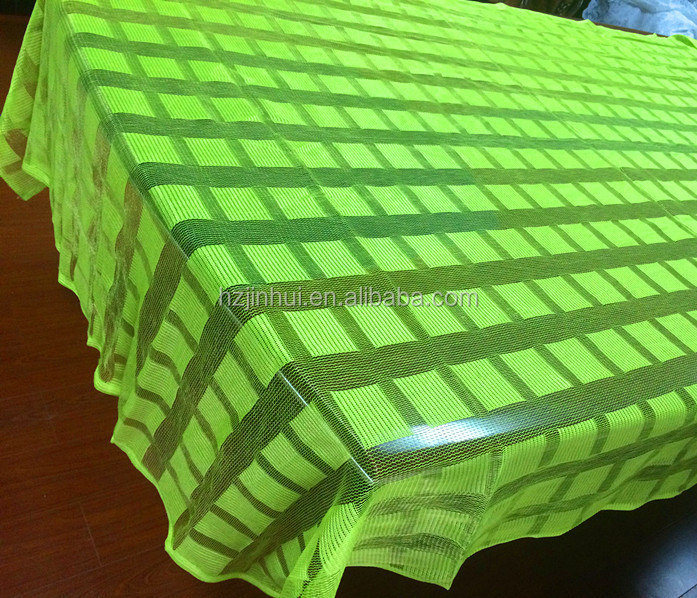Polyester Lace Green Knitted Blocks Table Cloth And 100% Polyester Lace Curtains