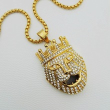 Europe and the United States foreign trade - stainless steel jewelry Gold plated diamond crown lion titanium steel pendant JL067