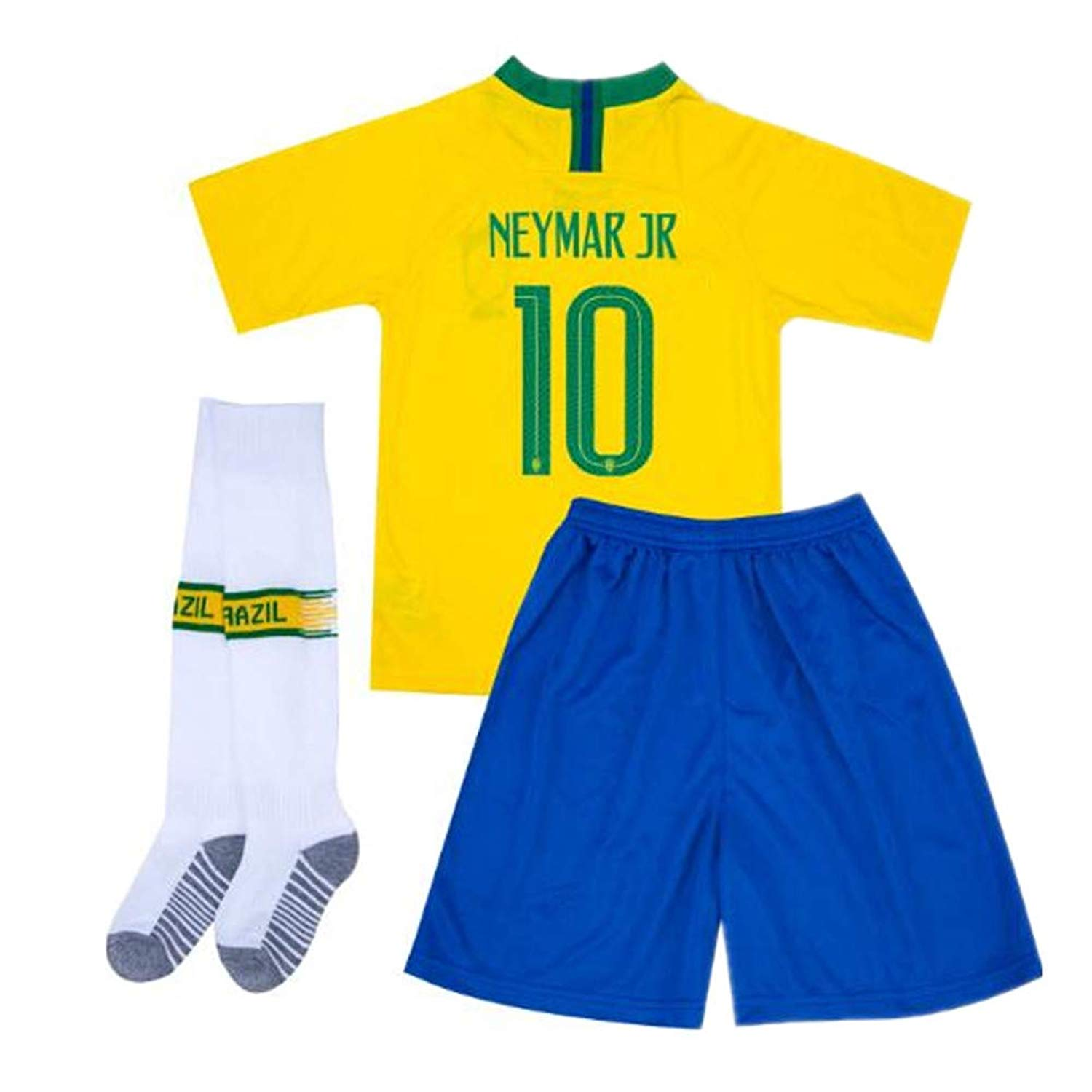8c281b934 Get Quotations · Neymar JR  10 Brazil 2018 World Cup Kids Soccer Jersey  Matching Shorts