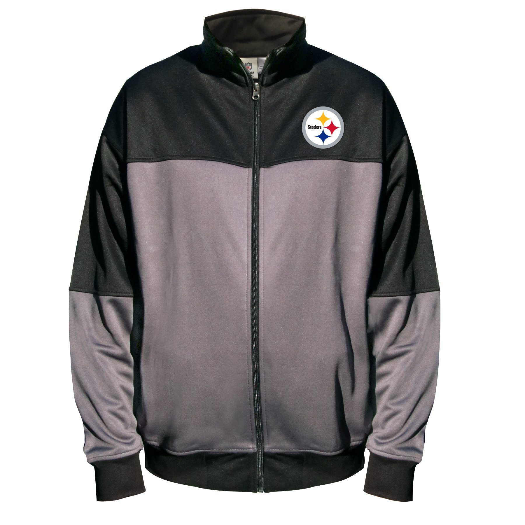 NFL Pittsburgh Steelers Unisex Poly Fleece Track Jacket, Charcoal/Black, 5X