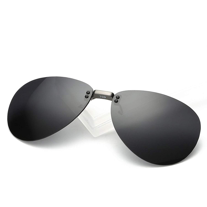 06800a881eb9f Get Quotations · Clip-On Sunglasses Polarized Aviator Al-Mg Rimless Lens  For Prescription Glasses