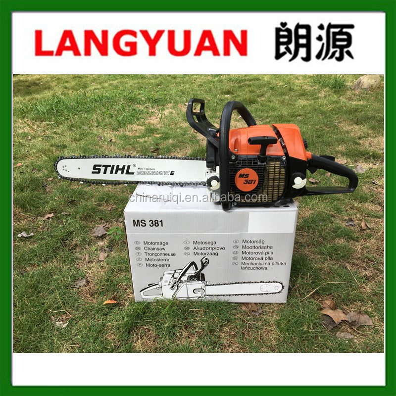 "Top quality MS381 72.2cc 3.9KW Gas chain saw Big Power with 20"" 24"" Guide Bar"