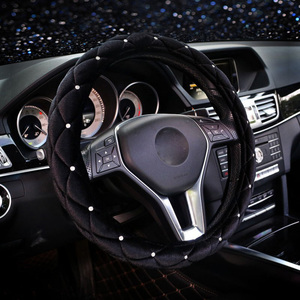 Ladycrystal Car Steering Wheel Cover For Women Diamond Auto Plush Steering-Wheel Covers Cases Universal Size