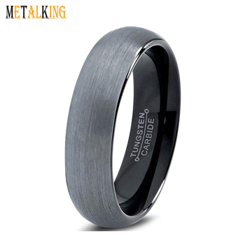 c125d64ab377ec 6mm Black Tungsten Carbide Ring Men Women Wedding Engagement Promise Ring  Domed Brushed