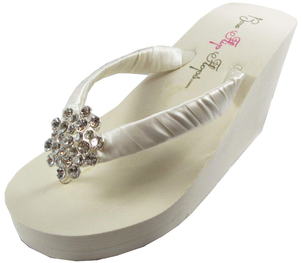 5998725f8 Get Quotations · Rhinestone Jewel Flip Flops Womens Bridal Wedding Platform  Heel Satin Rhinestone