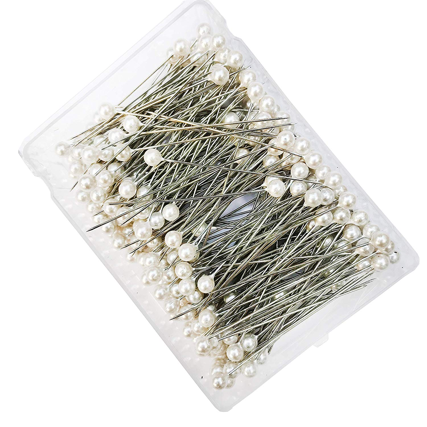 """6mm 2.5""""L 144Pcs White Round Pearl Headed Pins Corsages pin Straight Head Pins Dressmaking Dressmaker Pins Corsage Florists Sewing Pin for Wedding Flowers Buttonholes Corsages Bridal Floral Craft"""
