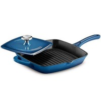 Enamel Cast Iron BBQ Grill Pan Square With Burger Press