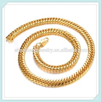 China online shopping wholesale latest cool 24k gold chain necklace designs for men