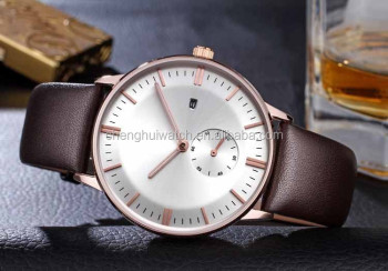 men Leather Band Analog Quartz Vogue Wristwatch Watches