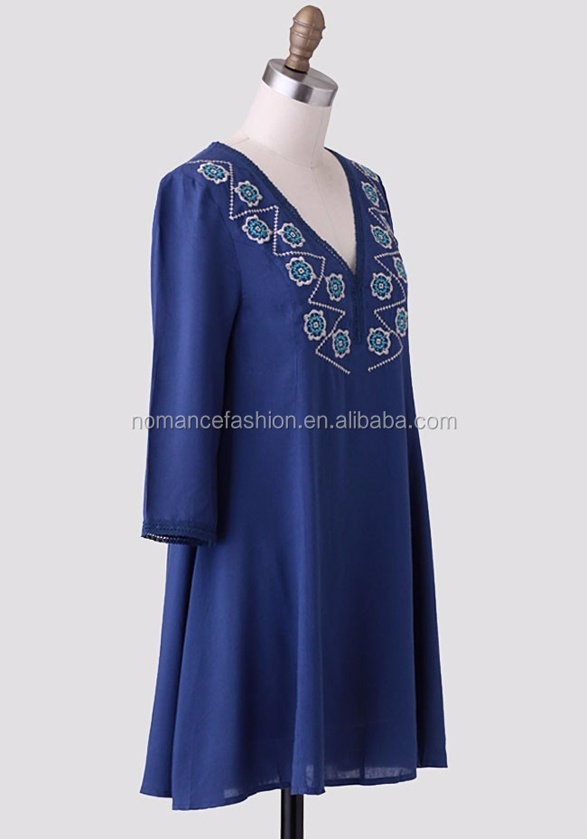 mexican embroidered casual dresses long sleeve wholesale