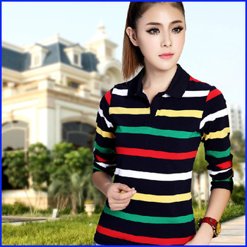 bffb690bc5 Yarn dyed 100% combed cotton long sleeve women s polo t shirts wholesale