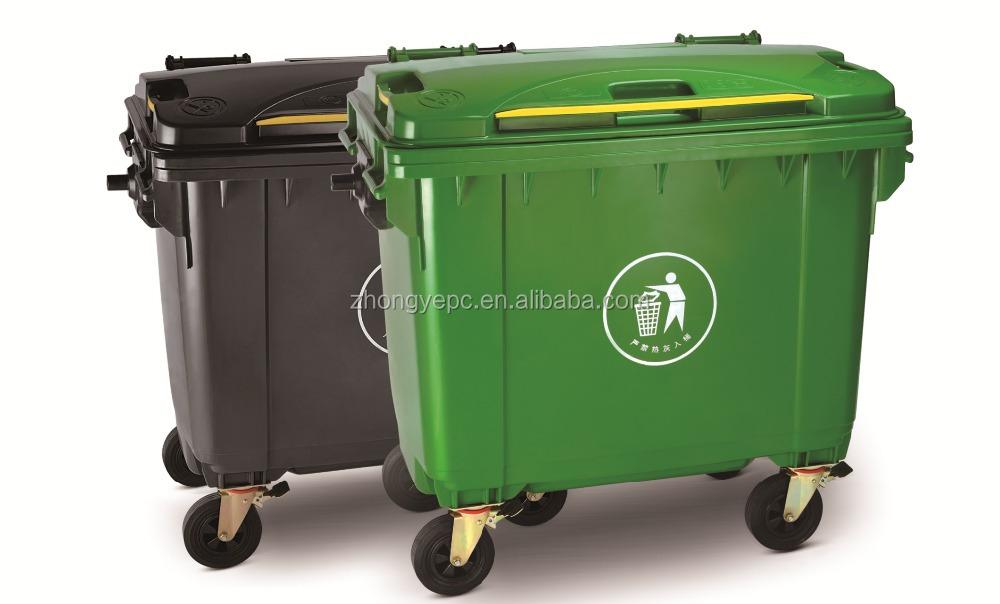 660l en plastique grande poubelle en plein air h pital poubelle avec roues avec couvercle. Black Bedroom Furniture Sets. Home Design Ideas
