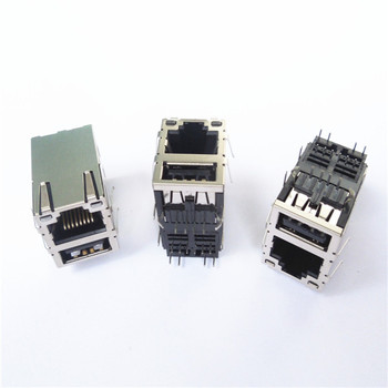 Rj45 Connector With A Stacked Usb