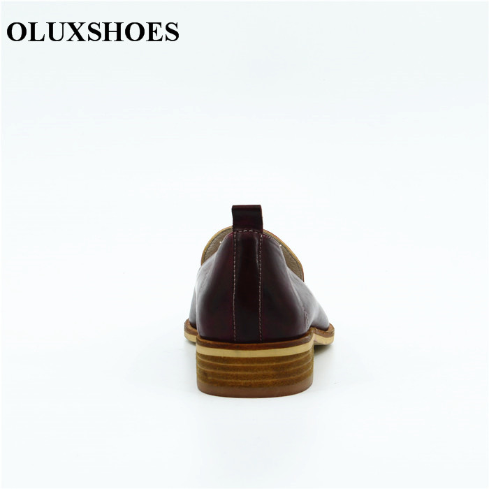 5427a74b476 High quality women luxury fashion leather Shoes women s burgundy flat  office shoes