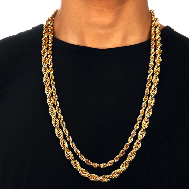 410849802dd Wholesale Hip Hop Men 316l Stainless Steel Gold Necklace 14K 18k Gold Rope  Chain