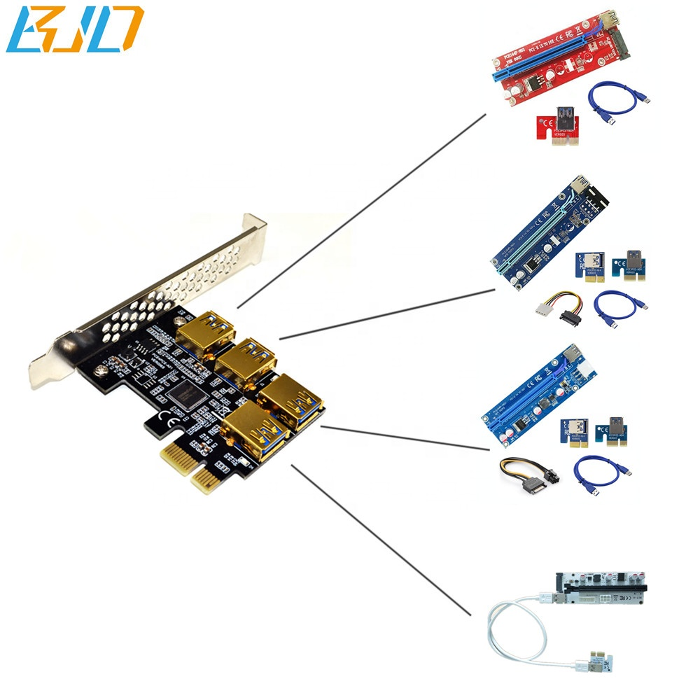 PCI-E 1 to 4 PCIe 1x (USB 3.0 slot) Switch Hub Expansion Adapter Card For PCIe 1x to 16x Riser Card