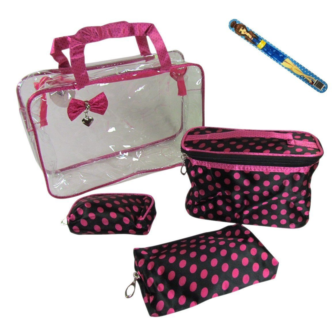 """4-piece Cosmetic Travel Make-up Bag Set AND 9"""" Fashion Nail File: Large See-through Purse with Handles (12""""x9""""x4""""), Oval Toiletry Bag with Handle (8.5""""x4""""x5""""), Medium Make-up Case (6.5""""x5""""x1""""), Small Cosmetics Pouch (4""""x5""""x1"""") - Black with Large Pink Dots"""