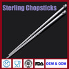 FDA High quality sterling silver chopsticks wholesale handmade chopsticks with rose unique head for wedding gift with box