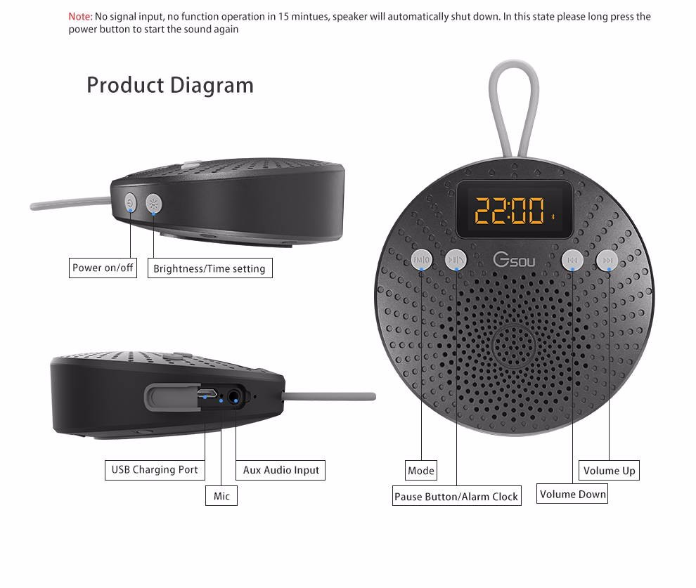 Newest Electronics Bathroom Waterproof shower Speaker with Fm radio