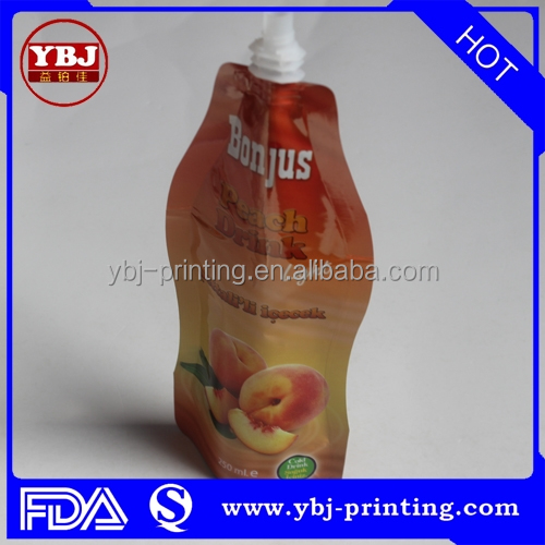 Reusable fruit juice spout pouch <strong>pack</strong>,liquid stand up pouch with spout,doypack