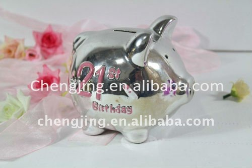 Silver Plated Ceramic Pig Coin Bank