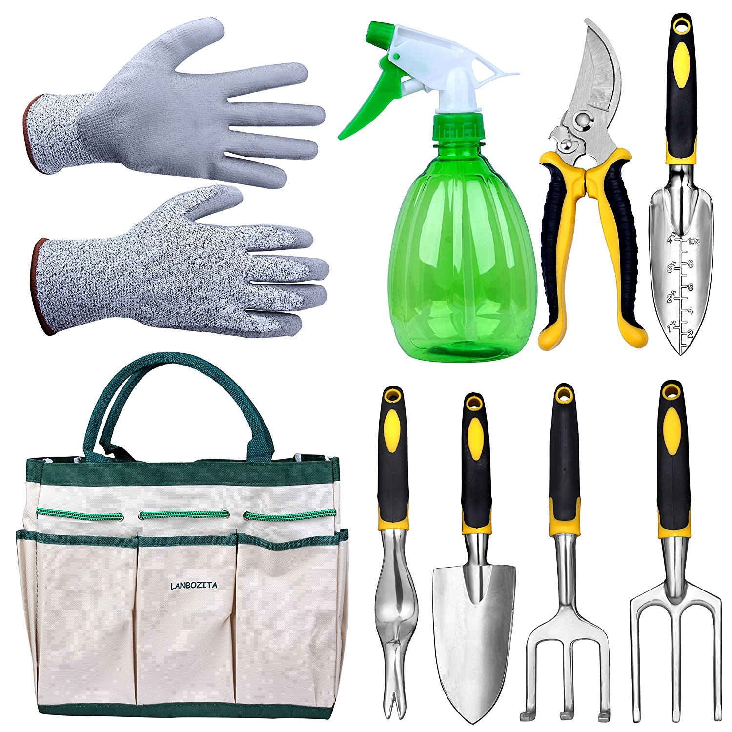 LANBOZITA Garden Tools,9 Piece Gardening Tools Set Including Trowel, Transplanter, Cultivator, Pruner, Weeder, Weeding Fork, Canavas Tote, Sprayer Bottle and Gloves