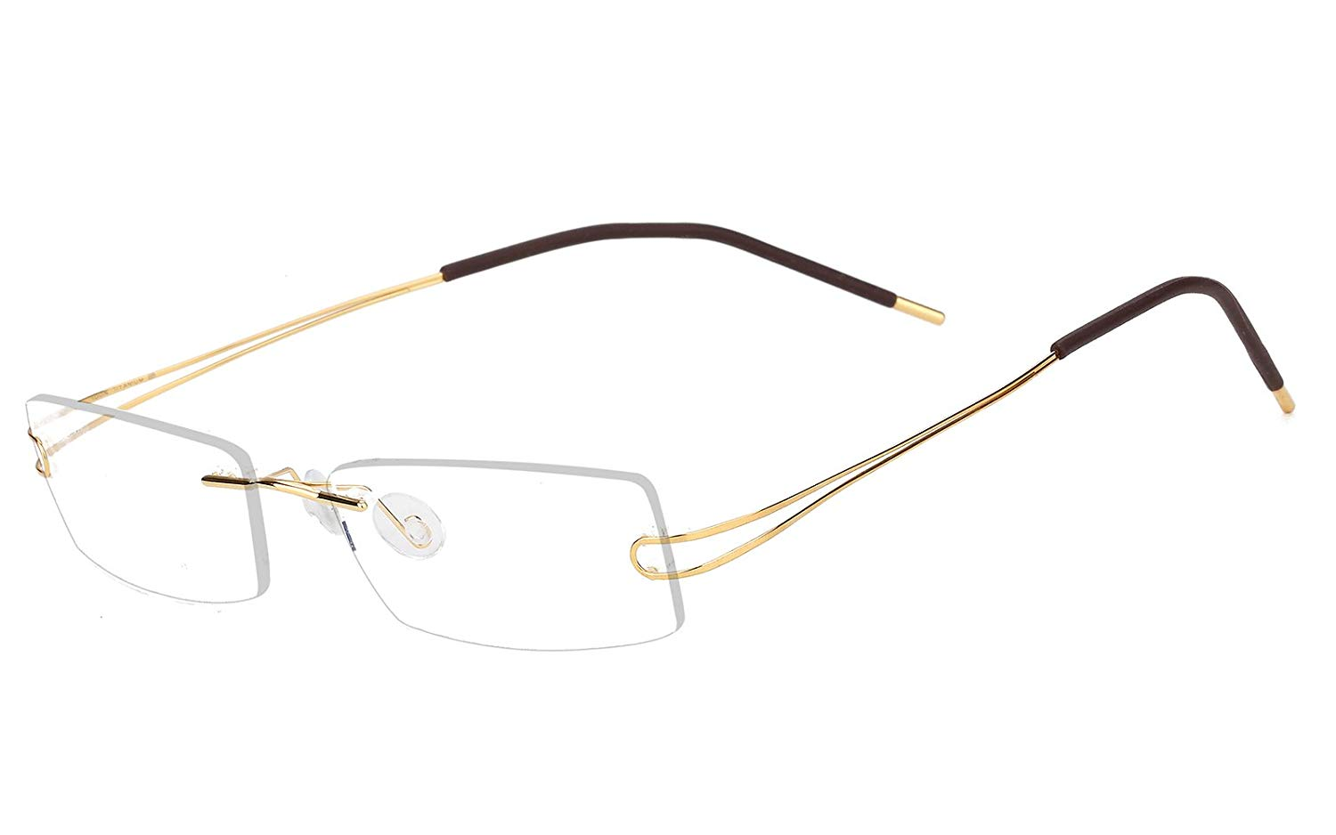 f5cb88914a Get Quotations · Agstum Pure Titanium Rimless Frame Prescription Hingeless  Eyeglasses 52mm