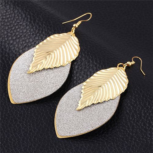 Ali express wholesale fashion jewelry frosted zinc alloy gold leaf drop earring