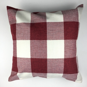 Printed Household Red And White Squares Blank Digital Printing Cheap Decorative Pillow